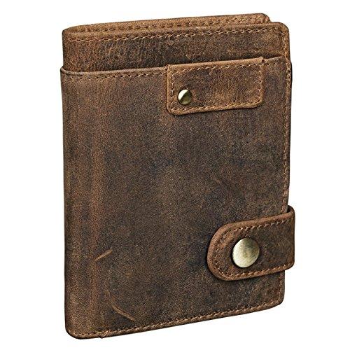 STILORD 'Milo' Cartera Hombre Cuero Elegante para Tarjetas Billetes y Monedas Billetero Monedero de auténtica Piel, Color:marrón - Medio