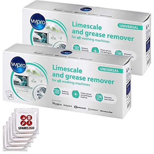 WPRO - Disincrostante per lavatrice e lavastoviglie, detergente anticalcare (24 bustine da 50 g + 5 deodoranti per armadietti della biancheria)
