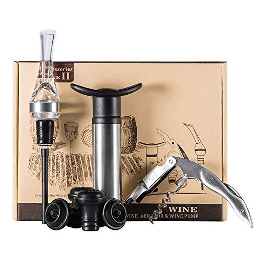 DFBGL Conservador de Bomba de Ahorro de vacío de Vino con 4 Tapones de Botella de vacío 1 vertedor de Vino 1 sacacorchos Juegos de Accesorios de Vino