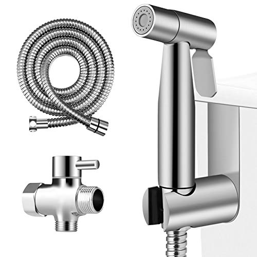 Amzdeal Handheld Bidet Sprayer for Toilet - Stainless Steel Bathroom Toilet Bidet Attachment Set, Baby Cloth Diaper Sprayer with Metal Hose and Valve, Support for Wall or Toilet Mount