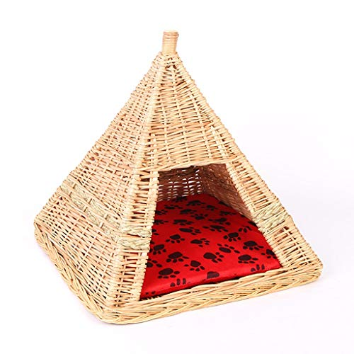 Amberzcy Nest Wicker Pet Bed Basket,Cat Bed 47x47x47cm Load 7kg Suitable For Small Pets (Handmade Item) house