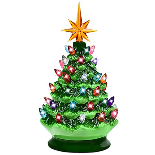 Goplus Pre-Lit Hand-Painted Ceramic Christmas Tree, Tabletop Xmas Decor, with 44 Multicolored Lights and Top Star, Forever Lighted Holiday Centerpiece (9.5in, Green)