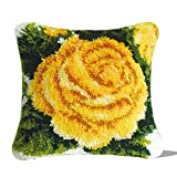 Latch Hook Kits DIY Throw Pillow Cover with Pre-Printed Yellow Rose Pattern Home Ornament for Kids/Adults 17' X 17'
