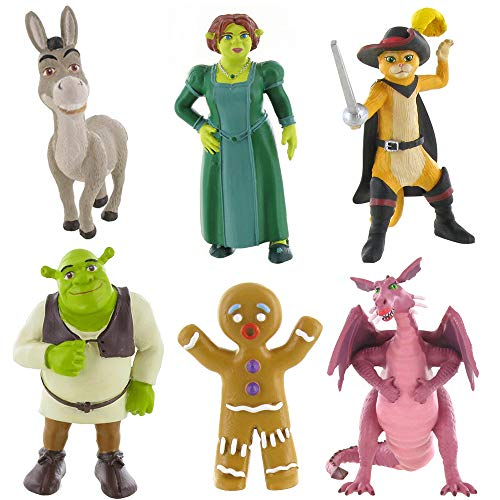 Shrek Mini-Figur Spielzeug - Fiona, Shrek, Esel und dem gestiefelten Kater (Shrek/Fiona/Esel/Puss/Ginger/Dragon)