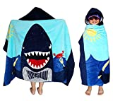 Athaelay Kids Bath Hooded Towel Super Soft Absorbent Cotton Terry Wrap Beach Pool Blanket with Hood (New Happy Shark)