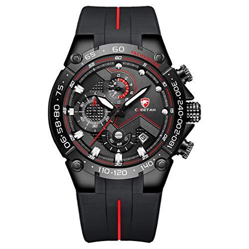 Herrenuhren wasserdichte Sport Chronographenuhr mit Silikonarmband, Datum, leuchtender Quarzarmbanduhr (schwarz rot)
