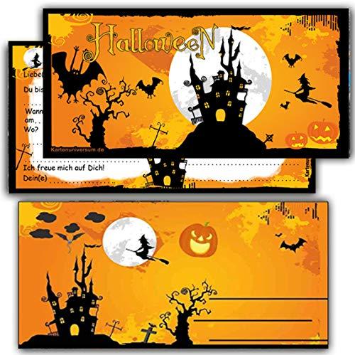 Kartenuniversum Halloween Einladung zur Halloweenparty Einladungskarten Grusel-Party Horror-Party Geburtstag Sarg Kindergeburtstag Kinder (Karten+Umschlag)