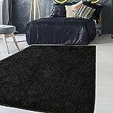 Tinzzi 5.3 ft x 7.5 ft Soft Fluffy Area Rug, Modern Shaggy Bedroom Rugs for Bedroom Bedside Living Room Carpet Nursery Floor Mat, Black