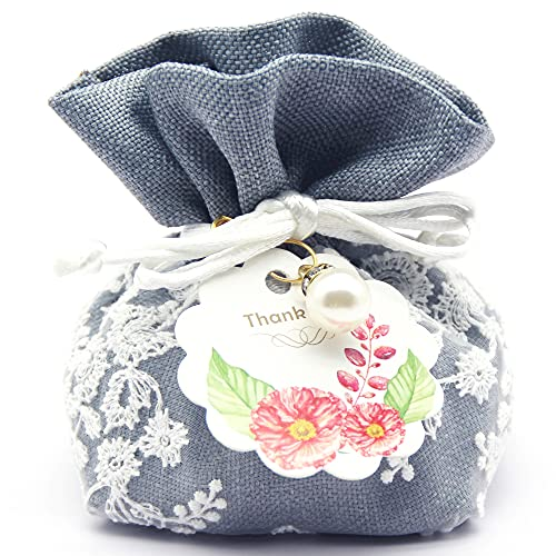 10 Count Lace Flower Burlap Drawstring Gift Bag, Small Jewelry Pouch Sachet Empty Bag Organza Candy Chocolate Bag for Wedding Party Favors (Haze Blue)