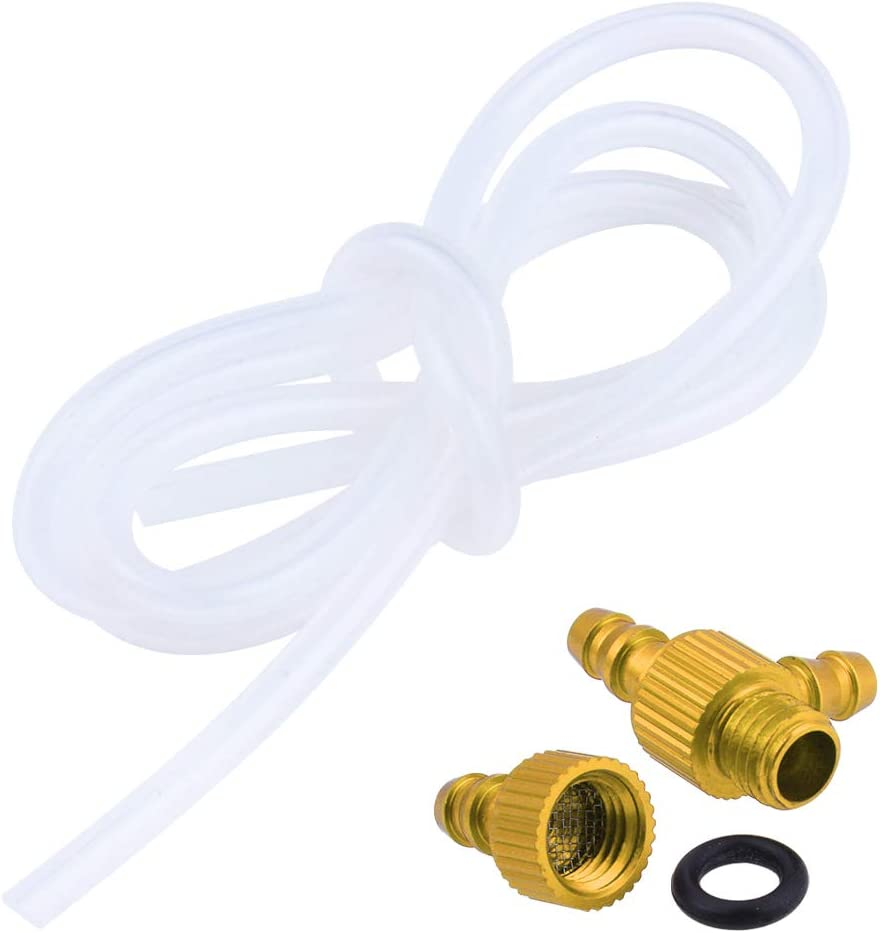 Gold Hobbypark 1//8 Aluminum 3-Way T Fuel Filter Tubing Coupler w//Hose for RC Airplane