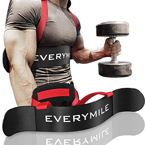 EveryMile Fitness Arm Curl Blaster, Sports Biceps Triceps Big Arms Bodybuilding Bicep Isolator, Muscle Strength Weight Lifting, Thick Gauge Aluminum, Adjustable Robust Rivets (Black)