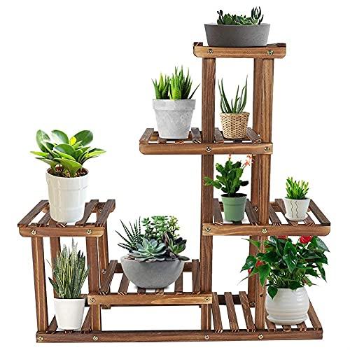6 Ebenen Pflanzenständer aus Holz, 73 L x 71.5 B x 20 H cm Blumenständer mit Balkongarten, Blumenregal Pflanzentreppe,großes Holzregal, Blumentreppe Outdoor Garten Balkon