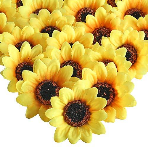 HUAESIN 50 Stücke Künstliche Sonnenblumen Köpfe 8cm Plastik Sonnenblumen Klein Kunstblumen Blumenköpfe Gefälschte Blumen Deko für Hochzeit Party Tischdeko DIY Basteln Kleidung Dekoration
