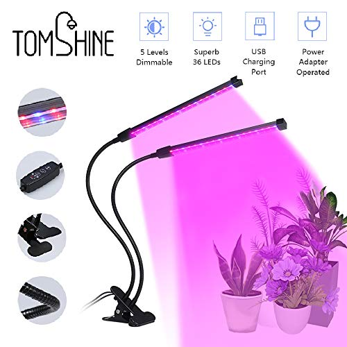 LED Pflanzenlampe, Tomshine 36 LED 18W Pflanzenleuchte Grow Light Lampe, Vollspektrum 3 Timer Funktion 3H/9H/12H, 5 Dimmbare Helligkeiten, einstellbar Doppelkopf Wachtumslampe für Pflanzen Wachstum