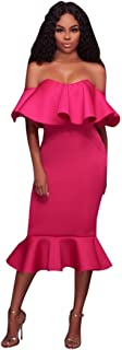 Women's Bodycon Off Shoulder Ruffle Skirt Evening Gown Flared Mermaid Pencil Dress