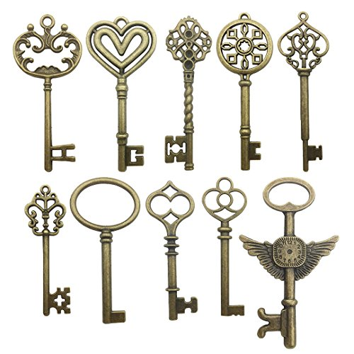 Youdiyla 20 pcs Large Antique Bronze Steampunk Vintage Keys for DIY Wedding Party Gifts Jewelry Necklace Pendants Decoration (10 Different Style) (HM106)