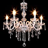 Ridgeyard Modern Luxurious Clear Crystal Chandelier Candle Pendant Lamp Ceiling Living Room Lighting for Dining Living Room Bedroom Hallway Entry (6 Lights)