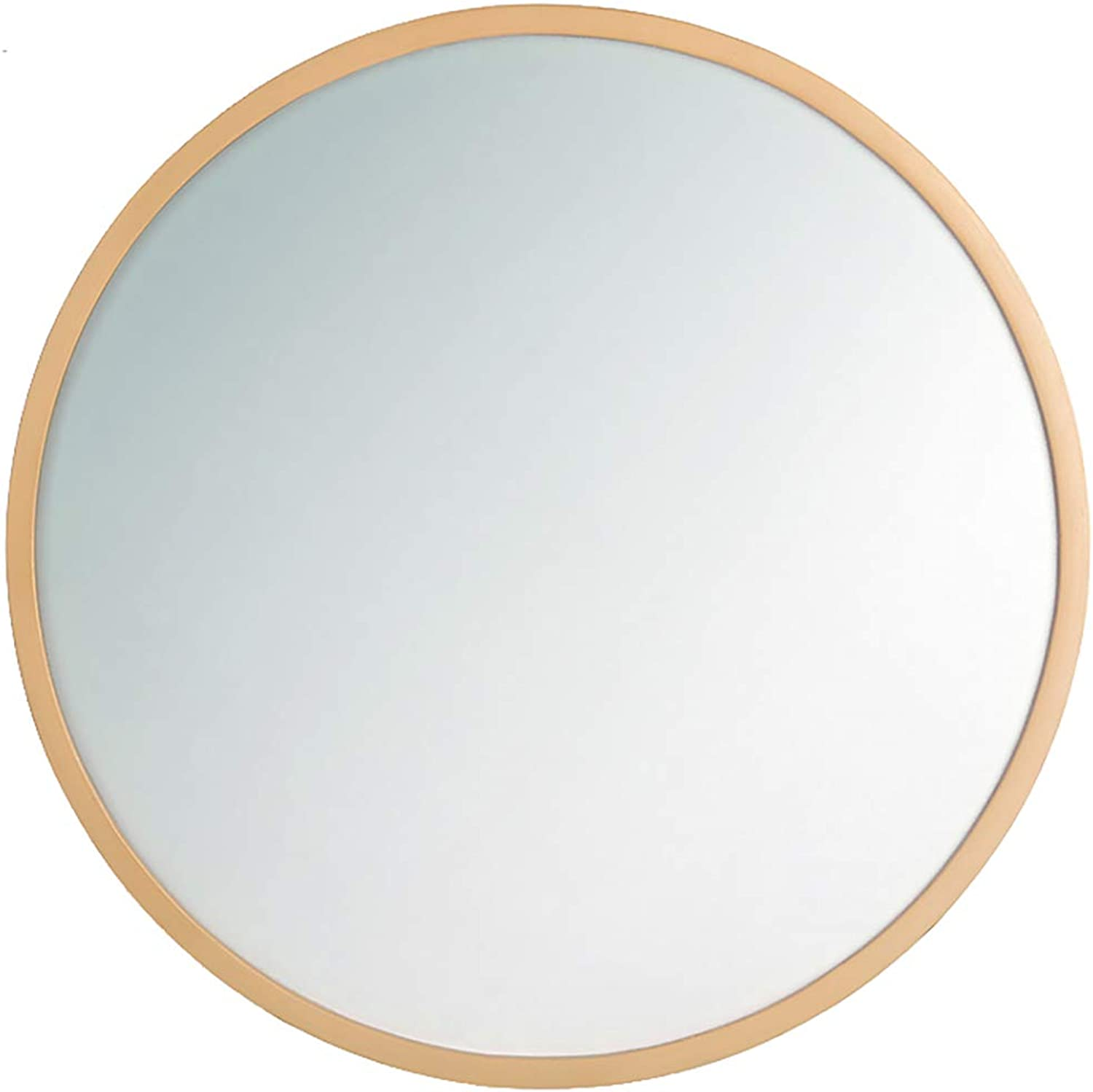 GUOWEI Mirror Wall-Mounted Floating Bathroom Decoration High Definition Wooden Framed Makeup Simple Circular, 6 Sizes (color   Beige, Size   Diameter -30 cm)