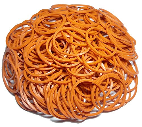 200Pcs 1 25mm Small Rubber Bands Multicolor Bulk Elastic Wide Money Colorful Rubber Bands Ring Stationery Holder Sturdy Strong Stretchable Band Loop School Home Bank Office Supplies (Orange)
