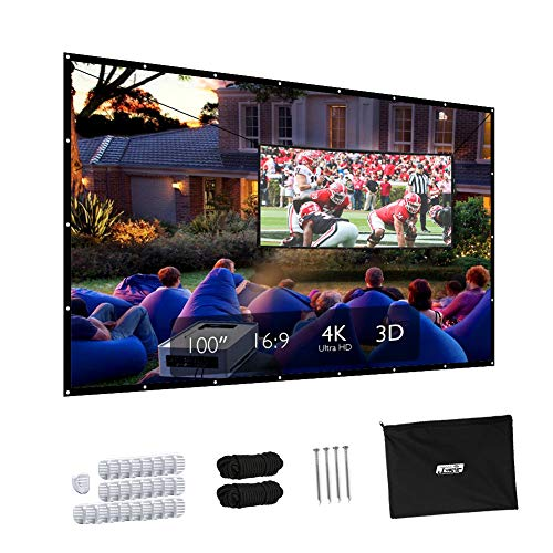 Projector Screen, JUST Upgraded 100 inch 4K 16:9 HD Portable Projector Screen, Premium Indoor Outdoor Movie Screen Anti-Crease Projection Screen Foldable Screen for Home Theater Backyard Movie