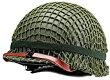 Winer Outdoor WW2 US M1 Casco Verde de Acero con Malla Mesh Canvas Chin Cat Eye Belt Tamaño Ajustable