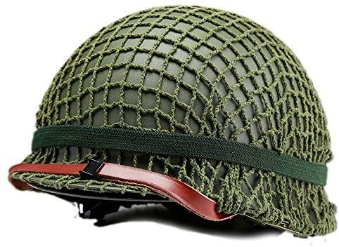 Winer Outdoor WW2 US M1 Casco Verde de Acero con Malla Mesh Canvas Chin Cat Eye Belt Tamaño Ajustable