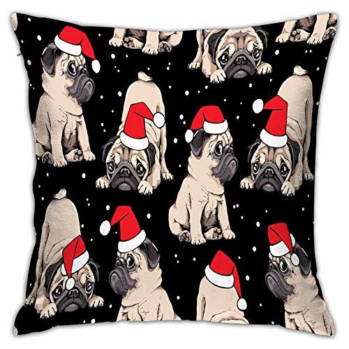Funda de Almohada Impresa con diseño de Dos Lados, patrón de Navidad sin Costuras. Adorable Beige Puppies Pugs en una Gorra roja de Papá Noel Cuadrado Cojín