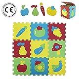 LUDI – Tapis de sol épais pour l'éveil de bébé – 1052 - puzzle géant aux motifs Fruits et Légumes – dès 10 mois – lot de 9 dalles en mousse...