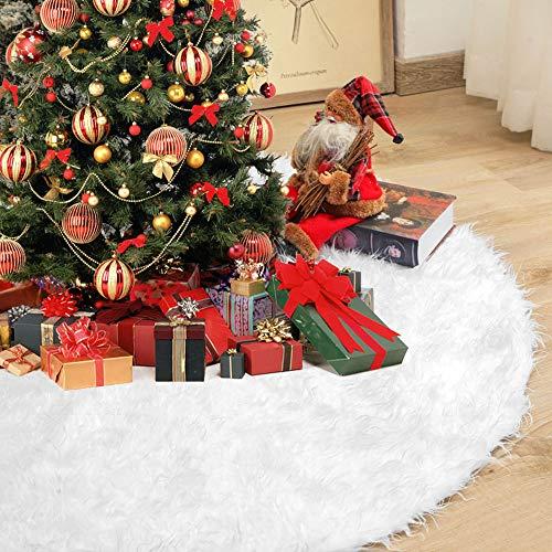 YOUKCDT Weihnachtsbaum Röcke Durchmesser 122cm Weihnachtsschmuck Rund Weihnachtsbaum Rock Decke Abdeckung Weiß Tannenbaumdecke Christbaum Rock Baumdecke Kunstfel Weihnachtsbaumdecke für Weihnachten