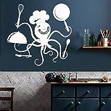 wZUN Etiqueta de la Pared decoración de la Cocina Divertido Pulpo Chef ollas y sartenes Restaurante cafetería decoración Vinilo Pared Pegatina 68X70cm