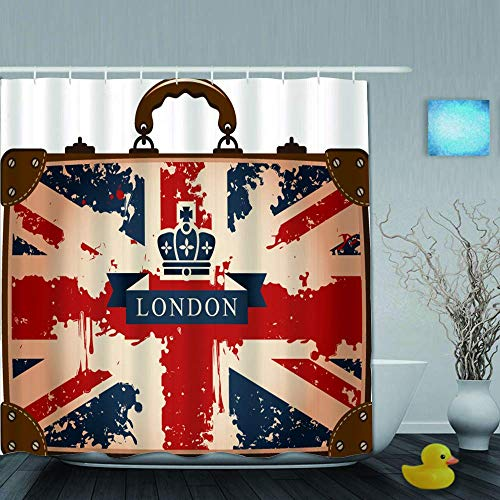N\A Shower Curtain,Vintage Travel Suitcase with British Flag London Ribbon and Crown Image,Cloth Fabric Bathroom Decor Set with Plastic Hooks