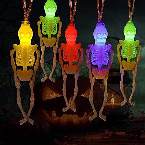 ハロウィン 飾り スケルトンライト ハロウィンストリングライト 電池式 電飾 デコレーション ハロウィーン お化け 玄関 庭 バー パーティーに飾り [2つのライトモード 3m 20個LEDライト]