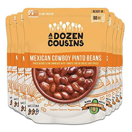 A Dozen Cousins Seasoned Pinto Beans, Vegan and Non-GMO Meals Ready to Eat Made with Avocado Oil (Mexican Pinto Beans, 8-Pack)