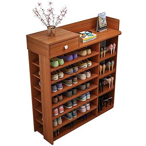 BXU-BG Zapatero de madera de sándalo antiguo, 29 pares de zapatos de 100 x 25 x 120 cm, ideal para pasillo, sala de estar, fácil de montar (color: sándalo antiguo, tamaño: 100 x 25 x 120 cm)