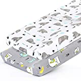 Stretchy-Changing-Pad-Covers-BROLEX Carddle Sheet Set for Baby Boys Girls,2 Pack Jersey Knit,Owl & Bear