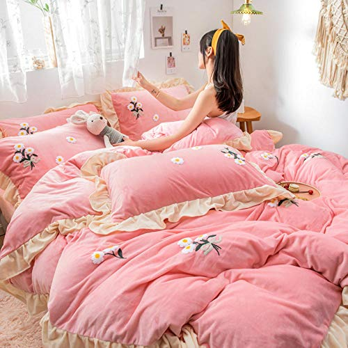 Shinon single christmas duvet cover,Winter warm sheets double-sided plus velvet thick flannel extra large duvet cover-B_2.0m bed (4 pieces)