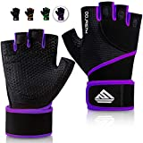 HTZPLOO Workout Gloves Gym Gloves Weight Lifting Gloves for Women with Full Palm Pad ,Strong Wrist Wraps Support,Enhanced Grip,for Fitness,Training,Weightlifting,Exercise (Purple,Medium)