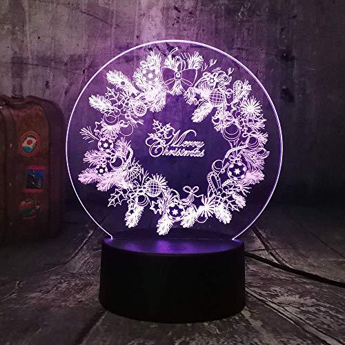 3d lampara de la noche Lámpara de luz nocturna guirnalda regalo de cumpleaños para jóvenes, niñas Con interfaz USB, cambio de color colorido