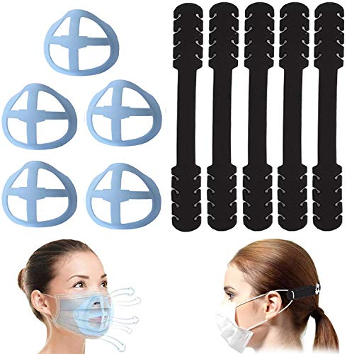 5 Pack Face Cover Buckle Belt, Strap Extenders,Comfortable,Snugly Extending for Band for kids, men & womens (2 Black, 2 White, 1 Pink)