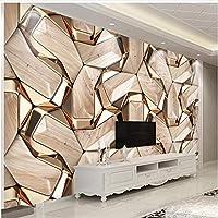 Xbwy 装飾壁画壁紙モダンな抽象的な幾何学金金属パターン壁紙リビングルーム-400X280Cm