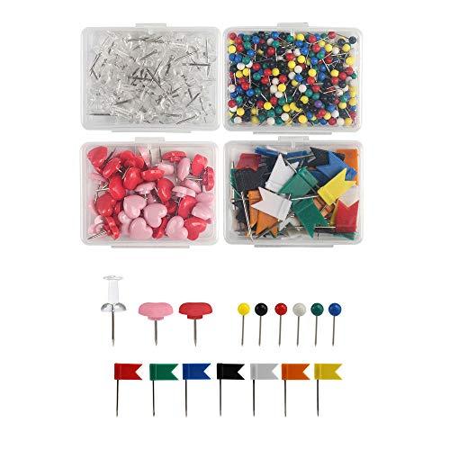 Kesote Karte Nagel Pinnadeln Set, 650 Stück Pins Stecknadeln Reißnägel mit Stahlspitze für Karte Landkarte Pinnwand Einschulung Schulanfang, 4 Formen