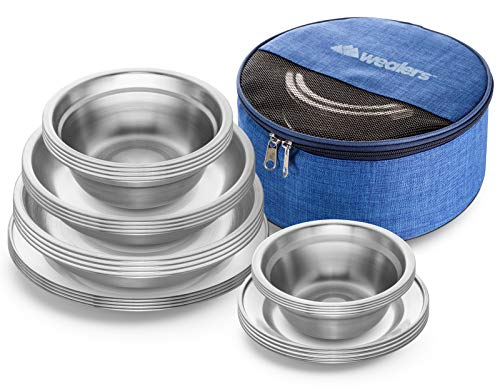 Wealers Stainless Steel Plates and Bowls Camping Set Small and Large Dinnerware for Kids, Adults, Family | Camping, Hiking, Beach, Outdoor Use | Incl. Travel Bag (24-Piece Kit)