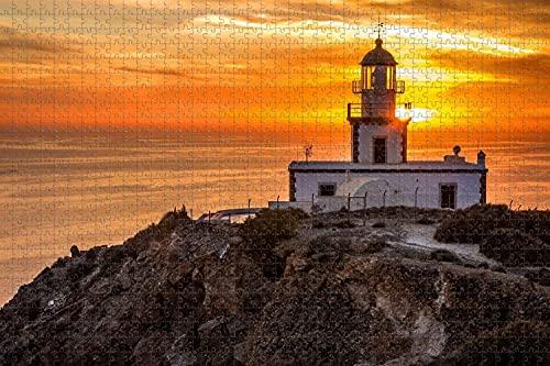 Grecia Santorini Faro de Akrotiri 1000 Pieza de Rompecabezas Juego de Puzzle de obras de Arte para Adultos,de Alta Definición de Paisaje Jigsaw Rompecabezas para Adultos Adolescentes Niños de la Fami