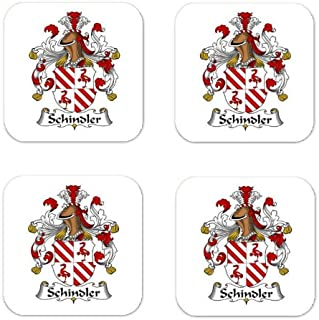 Schindler Family Crest Square Coasters Coat of Arms Coasters - Set of 4