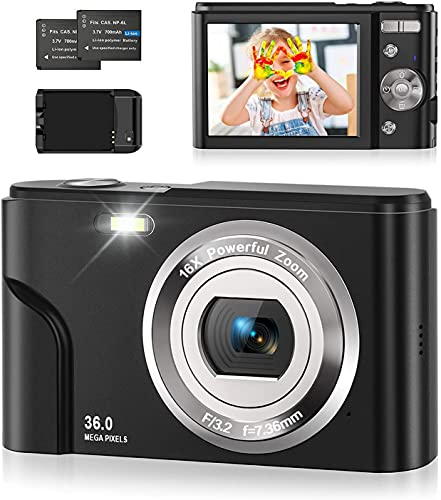 Fotocamera Digitale, 1080P FHD Macchina Fotografica Digitale 36 MP 2,4 Pollici, Zoom Digitale 16X con Caricabatterie e Due Batterie, Fotocamera vintage per bambini/adulti/anziani