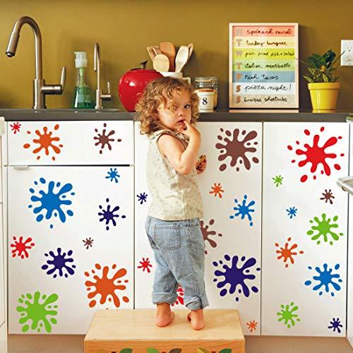 KAIRNE 114 Stück Wandtattoo fürs Kinderzimmer, Wandaufkleber Bunter Kreis, Bunte Wandsticker , Punkte Wandaufkleber , Wand deko für Mädchen Junge Schlafzimmer , Babyzimmer , Spielzimmer , Wohnkultur