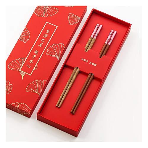 Palillos chinos de madera para niños, 2 pares de palillos japoneses de madera reutilizables, aptos para lavavajillas, juego de vajilla china, regalo de estilo clásico, respetuoso con el medio ambiente moderno Size a