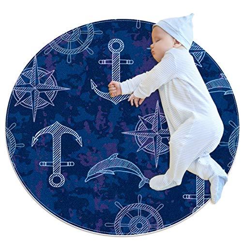 Alfombra Redonda Brújula Ancla Azul Alfombra Redonda decoración Arte Antideslizante niños Lavables a máquin Suave Sala Estar Dormitorio de Juegos para 70x70cm