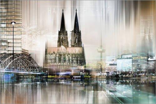 Posterlounge Acrylglasbild 90 x 60 cm: Kölner Skyline, abstrakt von Städtecollagen - Wandbild, Acryl Glasbild, Druck auf Acryl Glas Bild