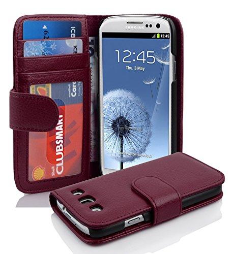Cadorabo Hülle für Samsung Galaxy S3 / S3 NEO - Hülle in Bordeaux LILA – Handyhülle mit 3 Kartenfächern - Case Cover Schutzhülle Etui Tasche Book Klapp Style